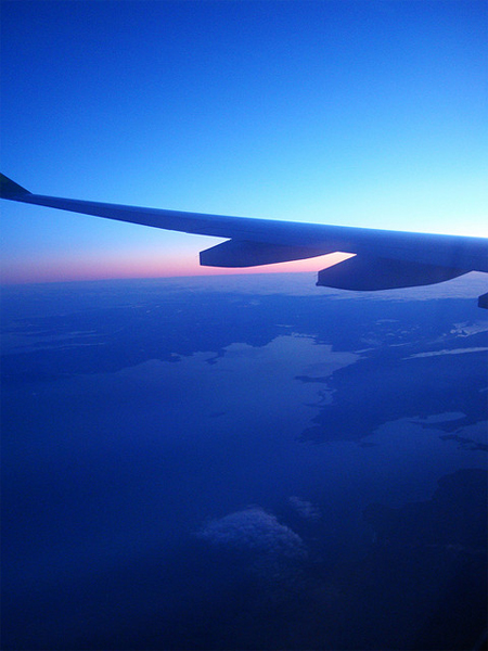 flying in over ireland at sunrise