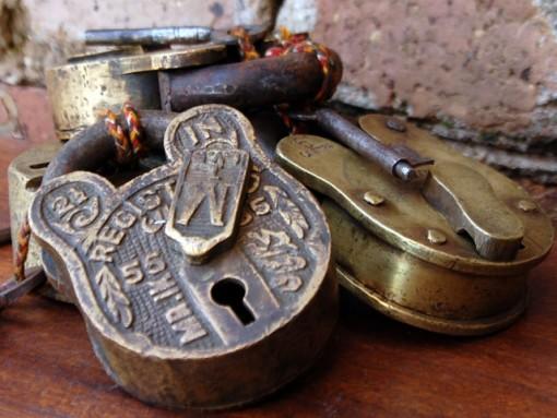antique brass padlocks from scaramanga