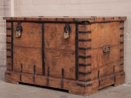 old wooden chest with padlocks from scaramanga