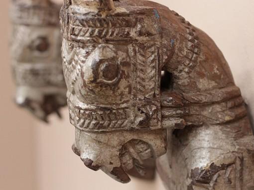 antique wooden marwari horse heads