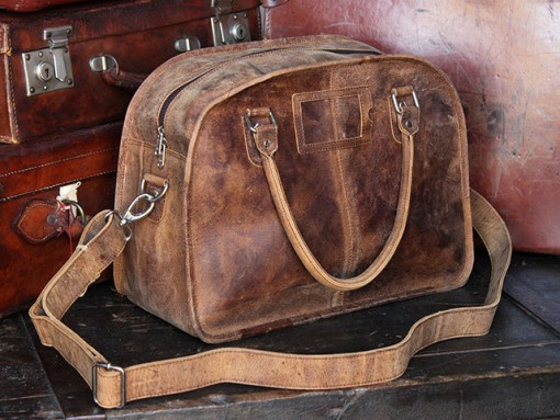 small vintage leather travel holdall bag from scaramanga