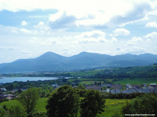 A view of the Mournes and Newcastle Harbour as seen from the Dundrum Castle curtain wall.