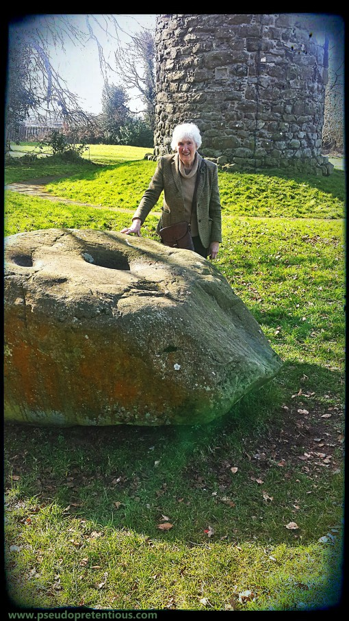 mum-in-law at the antrim round tower witch's stone